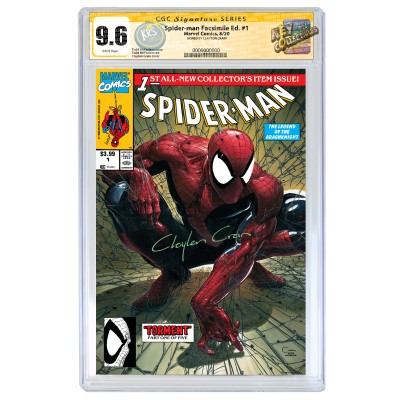 SPIDER-MAN #1 CLAYTON CRAIN FACSIMILE COVER A VARIANT CGC SIGNATURE SERIES 9.6 SIGNED BY CLAYTON CRAIN