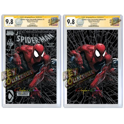 SPIDER-MAN #1 CLAYTON CRAIN SILVER FACSIMILE VARIANT SET CGC SIGNATURE SERIES 9.8 SIGNED BY CLAYTON CRAIN